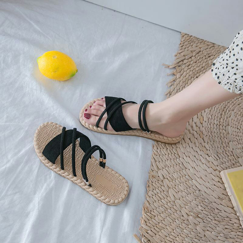 Sandalias Cómodas con Tiras Negra