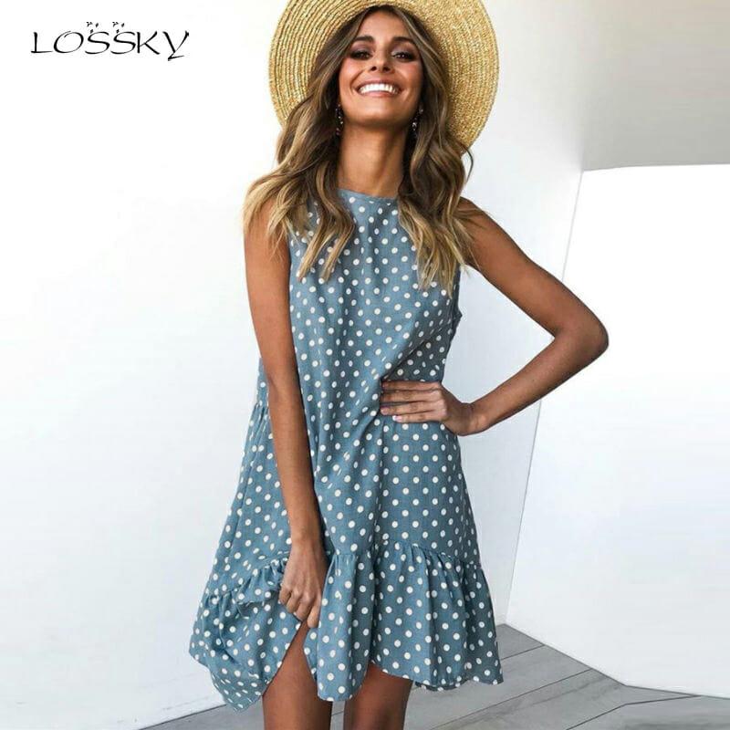 Vestido de Verano para Mujer con Lunares de Chifón Azul Claro