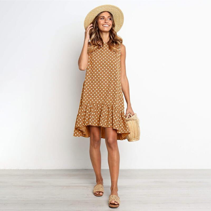 Vestido de Verano para Mujer con Lunares de Chifón Marrón