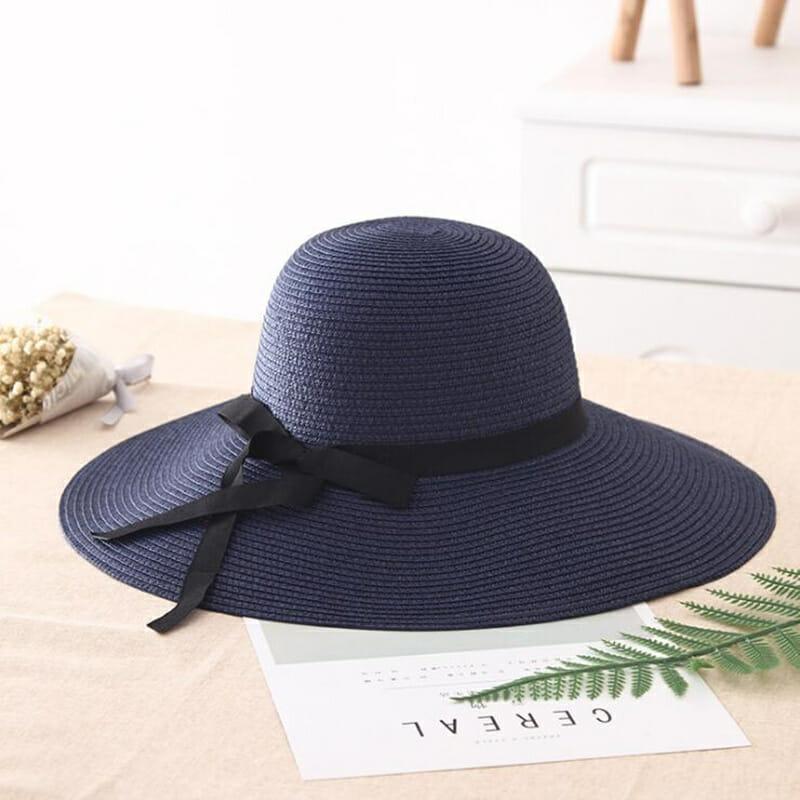Sombrero de Paja con Ala Ancha Azul