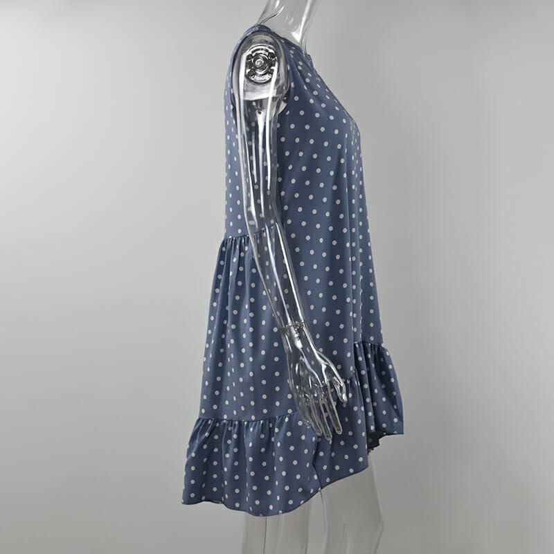 Vestido de Verano para Mujer con Lunares de Chifón Azul