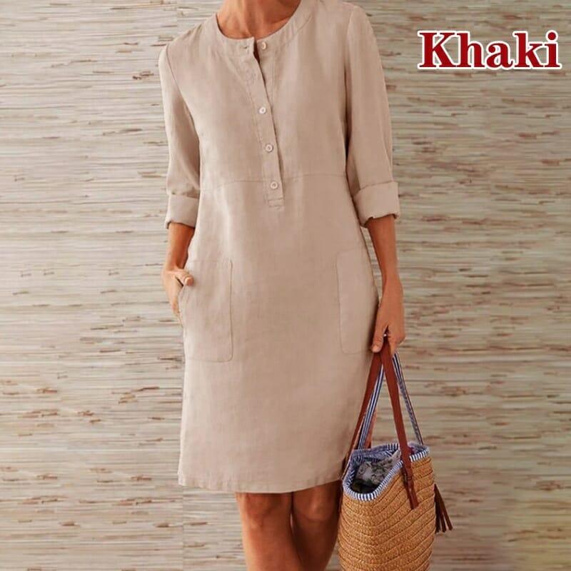 Vestido Casual con Botones Khaki