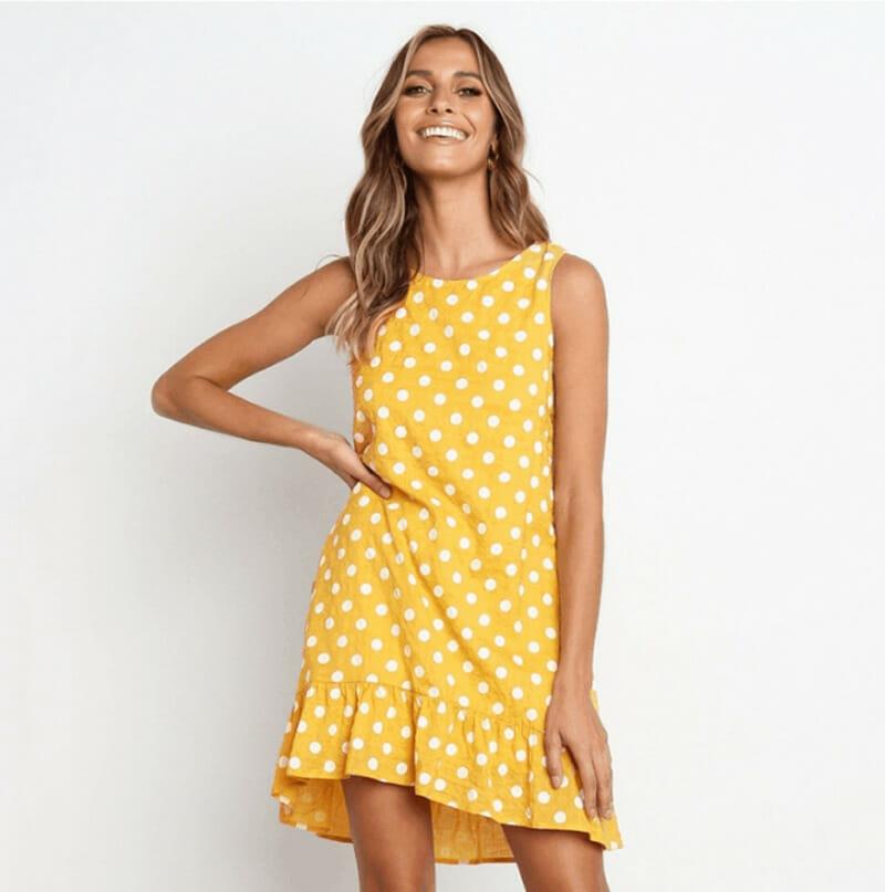 Vestido de Verano para Mujer con Lunares de Chifón Amarillo