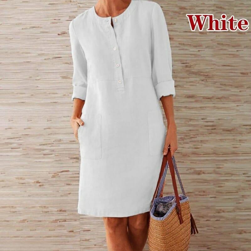 Vestido Casual con Botones Blanco
