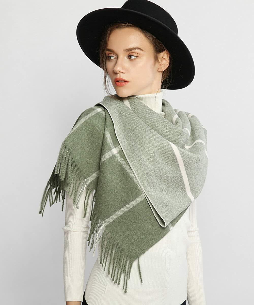 Bufanda Suave y Gruesa Verde Mujer