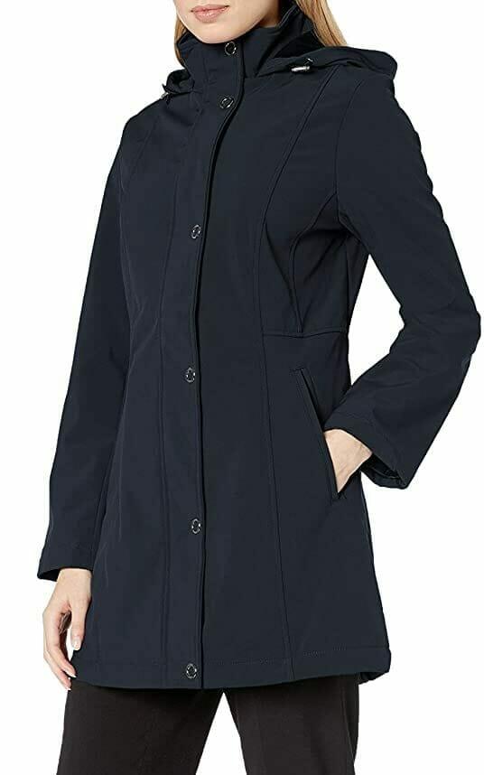 Abrigo con Capucha Azul Mujer
