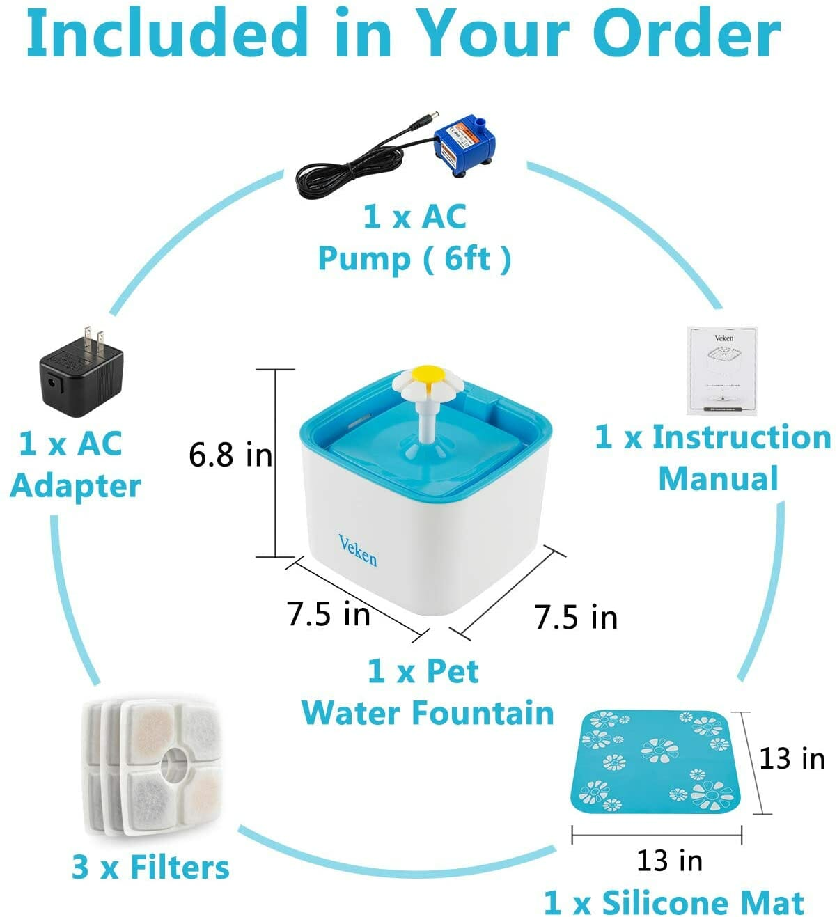 Fuente de agua Azul para Gatos
