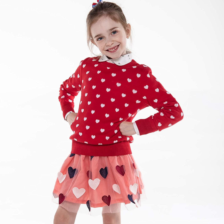 Jersey con Corazones Rojo para Niñas