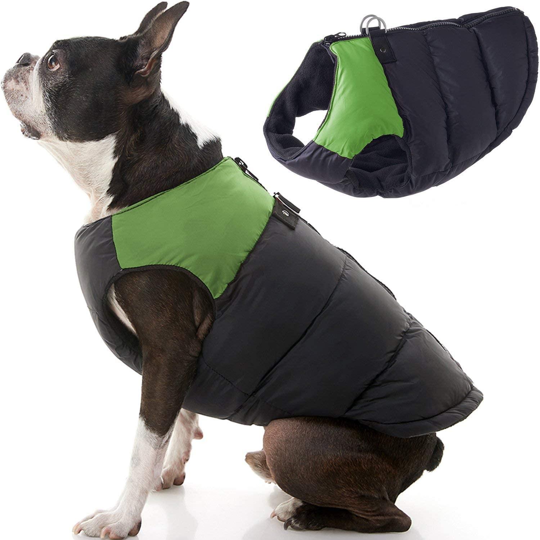 Chaleco con Cierre Espalda Negro Verde para Perros