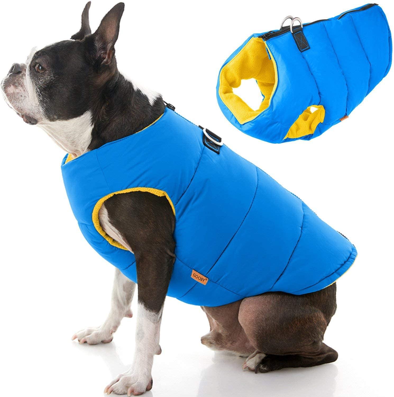 Chaleco con Cierre Espalda Azul Amarillo para Perros