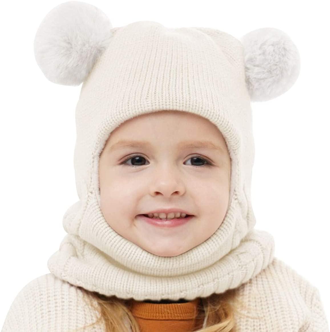 Gorro de Invierno con Bufanda Blanco para Niñas