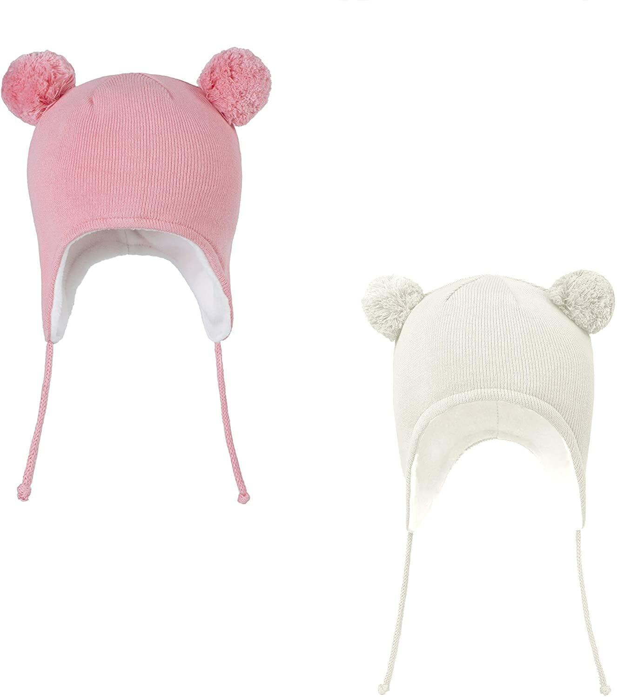 Gorro Oso Blanco Pink para Niños