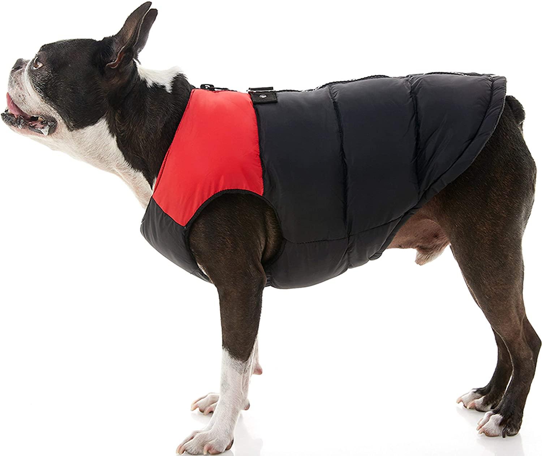 Chaleco con Cierre Espalda Negro Rojo para Perros