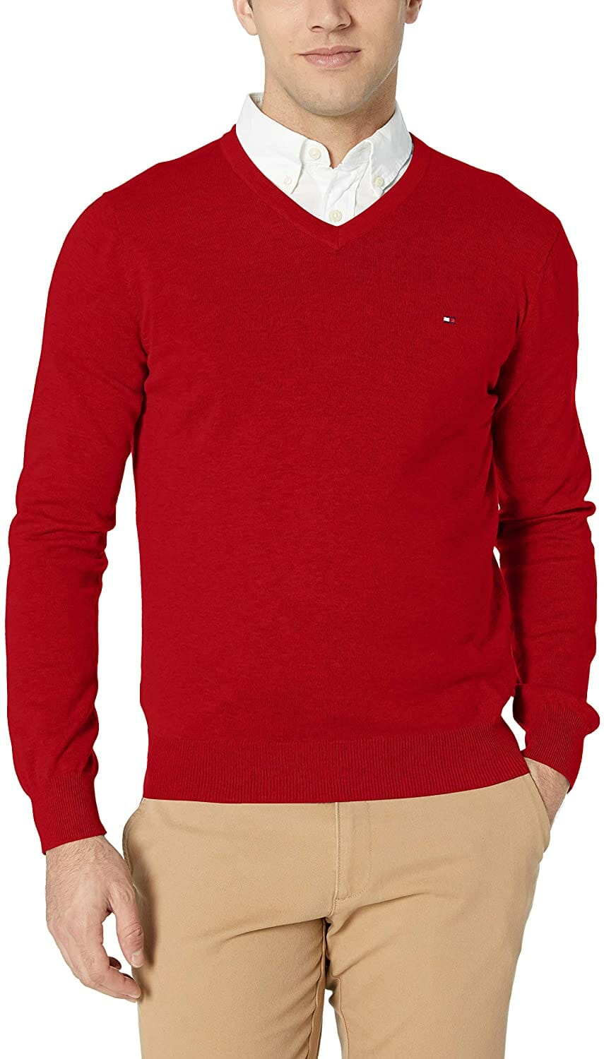 Tommy Hilfinger Jersey Cuello V Red Hombre Jersey Cuello V Red Hombre