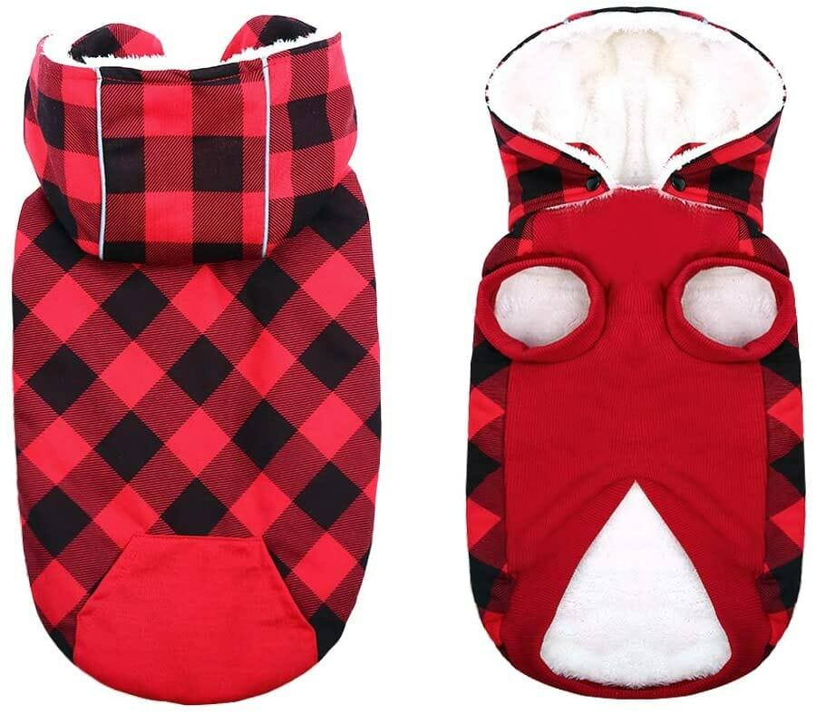 Chaqueta con Capucha Rojo para Perros