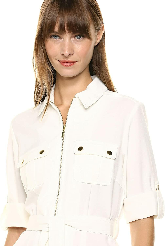 Sharagano Shirt Vestido Ivory Mujer