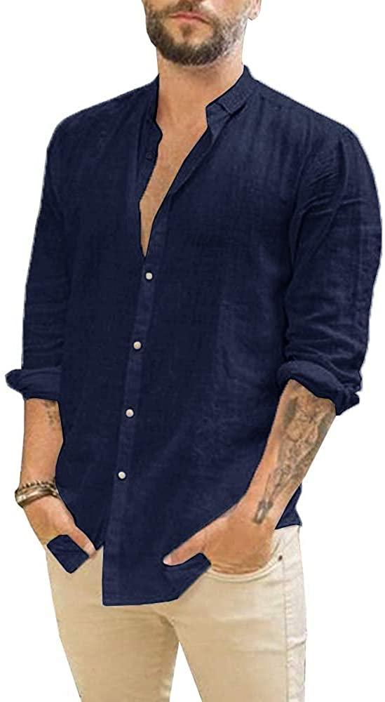 Makkrom Camisa de Lino Navy Hombre