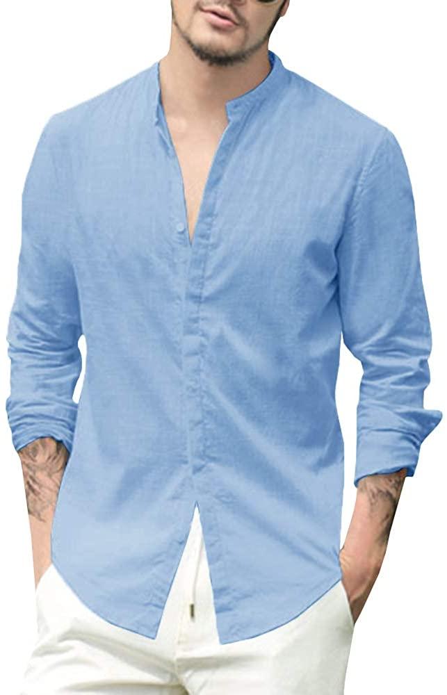 Makkrom Camisa de Lino Azul Hombre