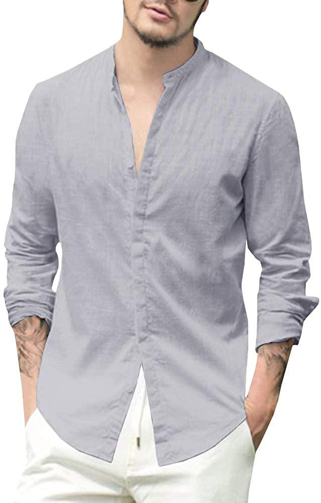 Makkrom Camisa de Lino Gris Hombre