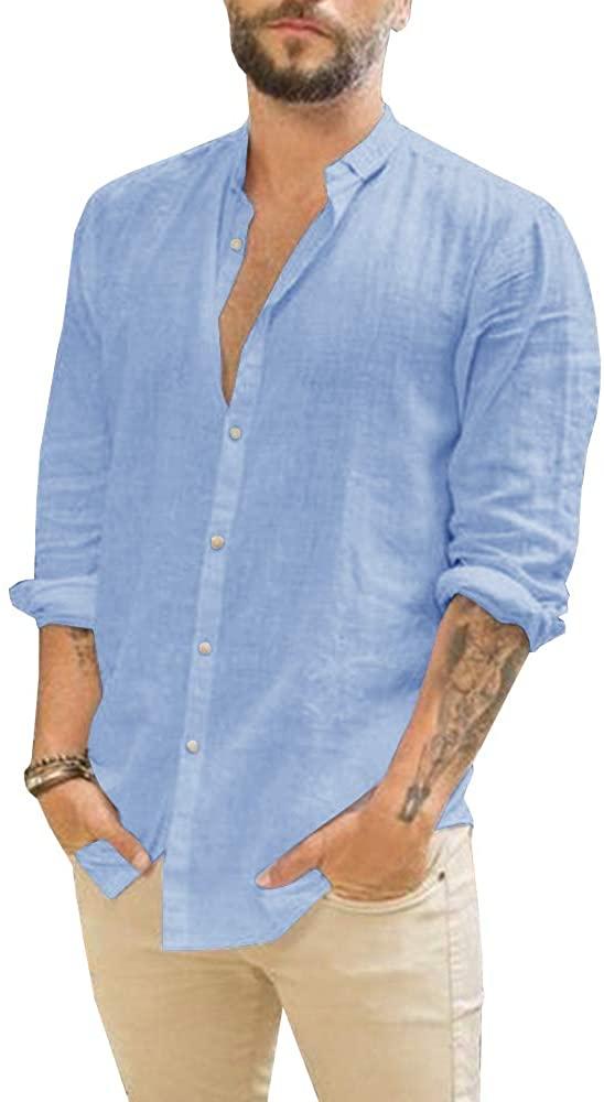 Makkrom Camisa de Lino Sky Blue Hombre