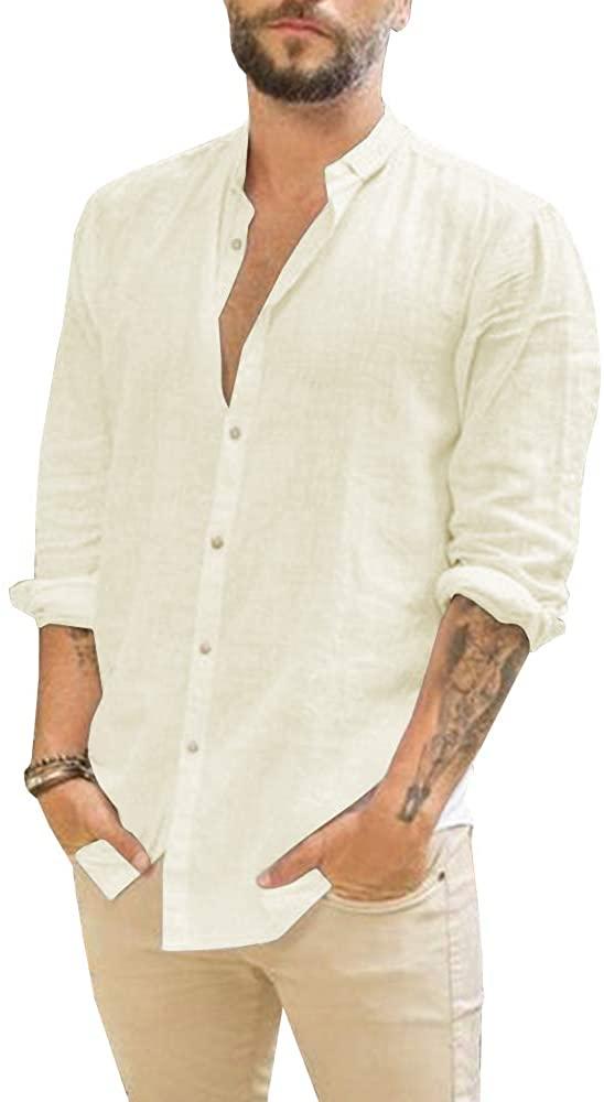 Makkrom Camisa de Lino Beige Hombre
