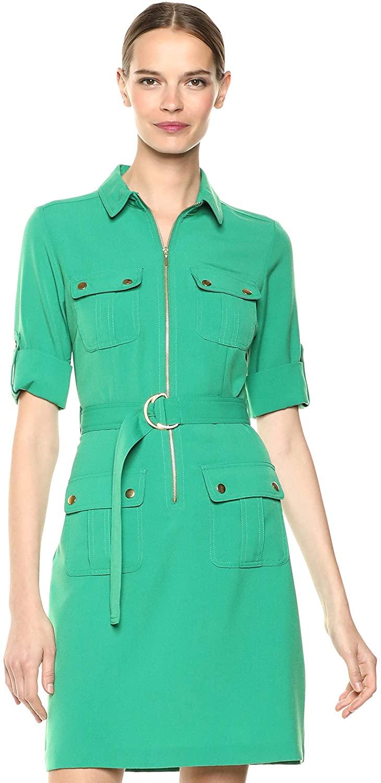 Sharagano Shirt Vestido Verde Mujer